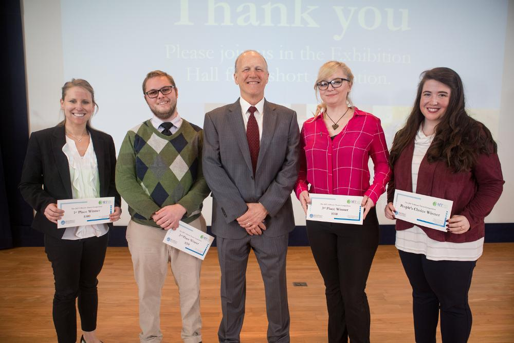 2018 3-Minute Thesis winners with the Dean of The Graduate School